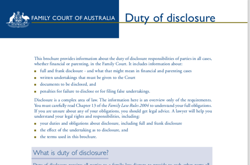 Family Court Duty of Disclosure
